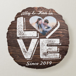 Love Rustic Woodland Photo Heart Frame Monogram Round Pillow
