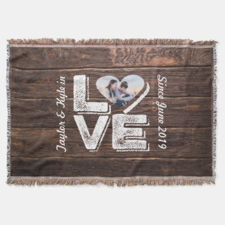 Love Rustic Woodland Photo Heart Frame Monogram Throw Blanket
