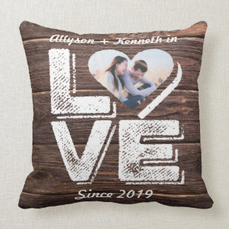 Love Rustic Woodland Photo Heart Frame Monogram Throw Pillow