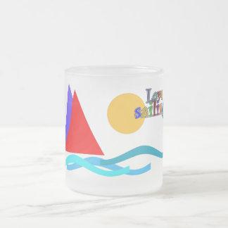 love sailing sulk frosted glass mug