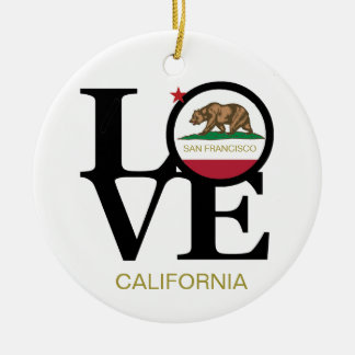 LOVE San Francisco California Porcelain Ornament