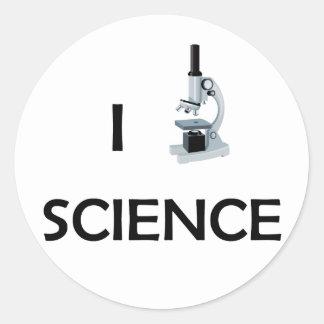 Love Science Microscope Classic Round Sticker