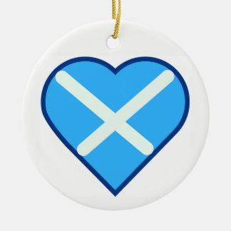 Love Scotland Heart Blue and White Saltire Flag Ceramic Ornament