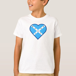 Love Scotland Sky Blue & White Cross Saltire Flag T-Shirt