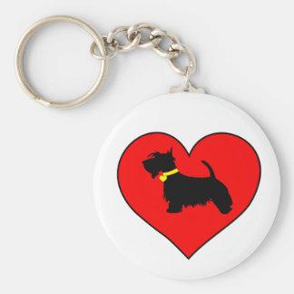 Love Scottie dog key ring Basic Round Button Keychain