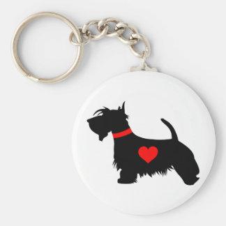 Love Scottie dog with heart key ring Basic Round Button Keychain
