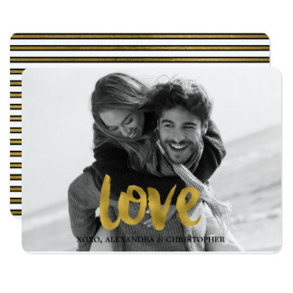Love Script Gold Foil Valentine's Day Photo Card
