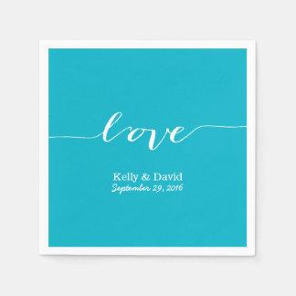 Love Script Turquoise Modern Wedding Bridal Shower Paper Napkin