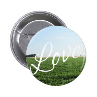 Love Script Typography Nature Grassy Meadow 2 Inch Round Button