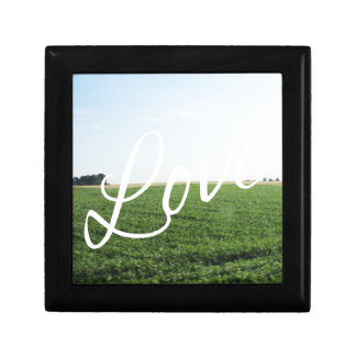 Love Script Typography Nature Grassy Meadow Gift Box