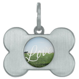Love Script Typography Nature Grassy Meadow Pet Name Tags