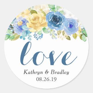 Love Script Watercolor Blue Yellow Floral Classic Round Sticker