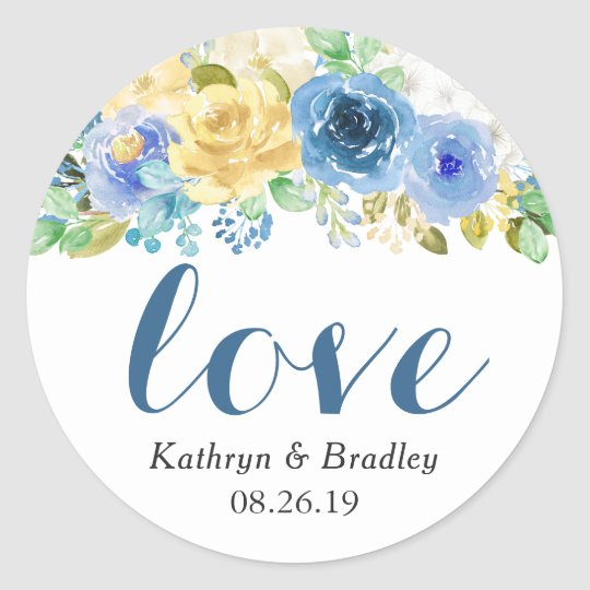 Love Script Watercolor Blue Yellow Floral Classic Round Sticker