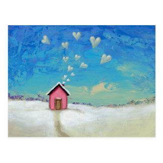 Love shack cabin fun romantic art Staying Warm Postcard