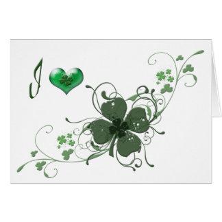 Love Shamrock digital art design Cards
