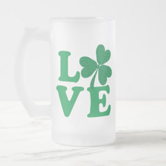 Love-Shamrock Frosted Glass Beer Mug