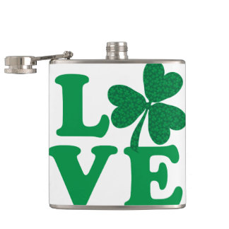 Love-Shamrock Hip Flask