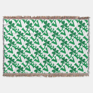 Love-Shamrock Throw Blanket