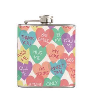 Love Shape Background Hip Flask
