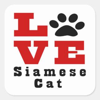 Love Siamese Cat Designes Square Sticker