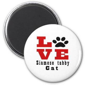 Love Siamese tabby Cat Designes 2 Inch Round Magnet