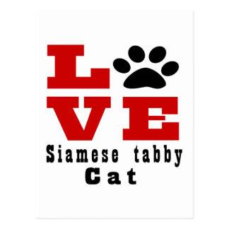 Love Siamese tabby Cat Designes Postcard