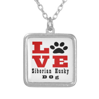 Love Siberian Husky Dog Designes Silver Plated Necklace
