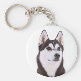 Love Siberian Husky Puppy Dog Portrait Keychain