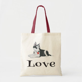 Love Siberian Husky Puppy Dog Tote Bag