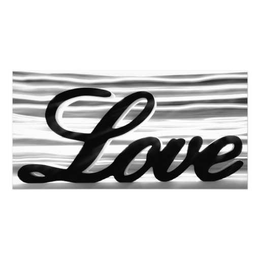 Love sign with white light streaks behind customised photo card