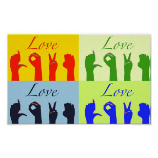 Love signs pop art poster