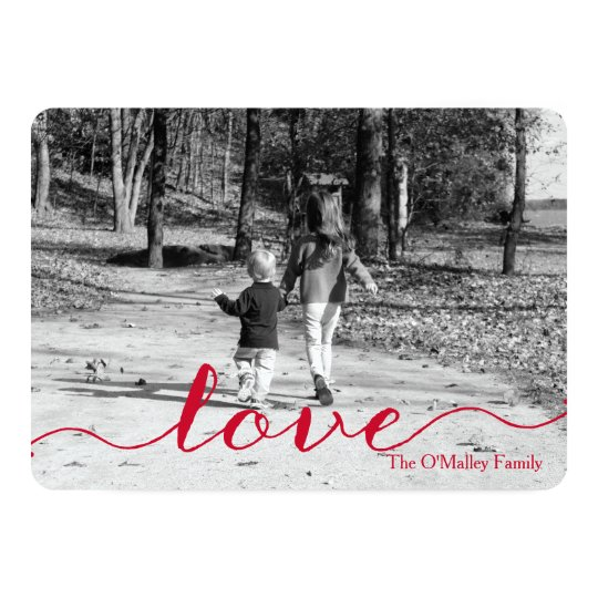 Love | Simple Red Script Photo Valentine's Day Card