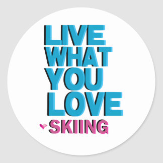 Love Skiing Gifts Classic Round Sticker