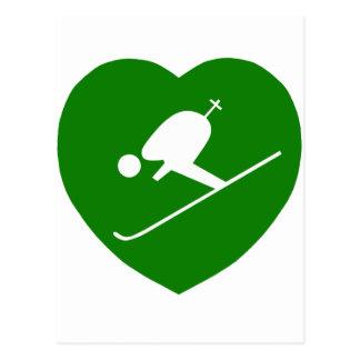 Love Skiing Green Heart Postcard