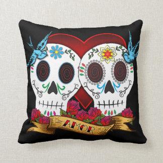 Love Skulls and Bluebirds Pillow