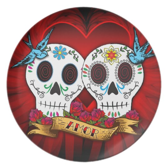 Love Skulls and Bluebirds Plate