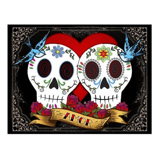 Love Skulls Save the Date Postcard