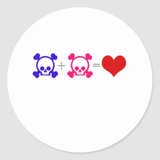 Love Skulls Round Sticker