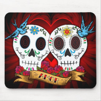 Love Skulls With Bluebirds Mouse Pad