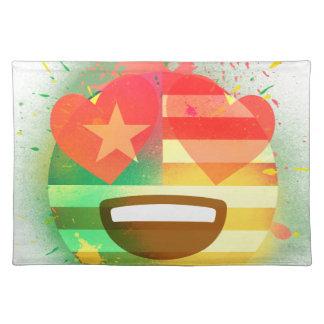 Love Smile America flag Emoji Spray Paint Art Placemat