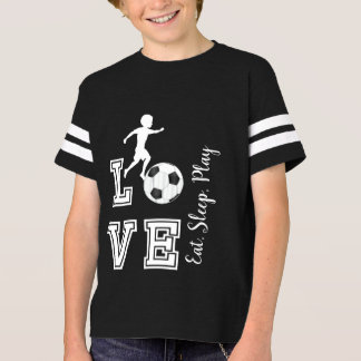 Love Soccer - Eat, Sleep, Play - Boy - Black T-Shirt