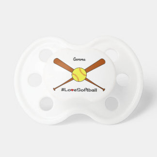 Love softball add name sporting pacifier