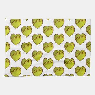 Love Softball Pattern Kitchen Towel