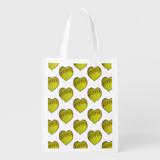 Love Softball Pattern Reusable Grocery Bag