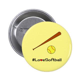 Love softball yellow hashtag sports 2 inch round button