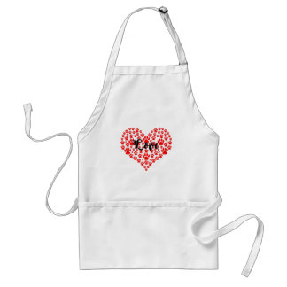 love solid red paw heart standard apron