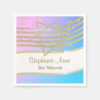 Love Song Music Bat Mitzvah Silver Paper Napkin