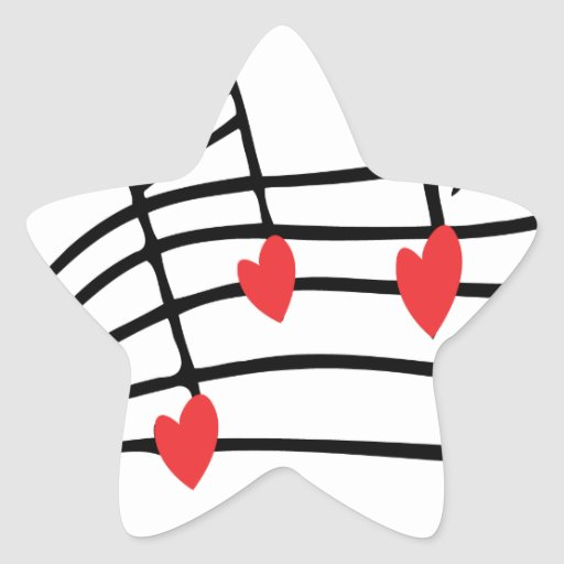 LOVE SONG MUSIC NOTES CUTE RED BLACK WHITE FRIENDS STAR STICKER