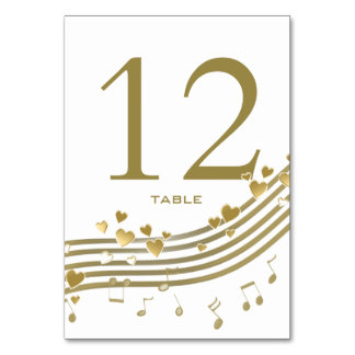 Love Songs Music Notes Table Number Card