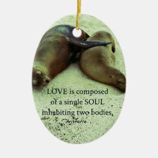 Love soulmates Aristotle quote Ceramic Ornament